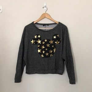 Sweaters - Mickey Mouse Gold Foil Grey Cropped Sweater